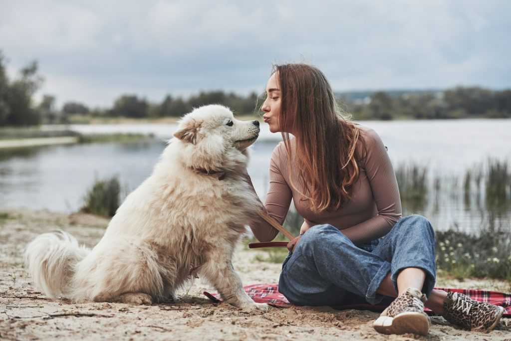 Giving a kiss. Blonde girl with her cute white dog have a great time spending on a beach