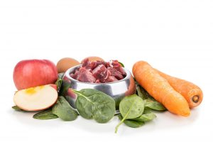 Ingredients of barf raw food recipe for dogs consisting meat, eggs and vegetable
